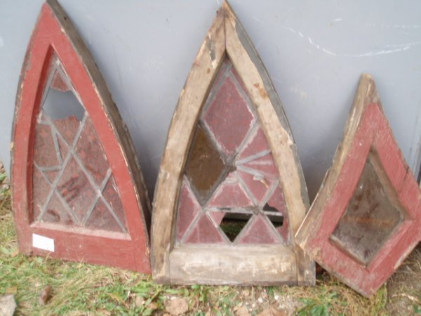 10: Three small leaded glass windows (as is)