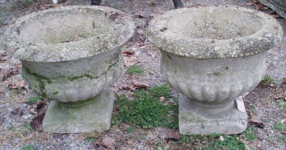 14: Two matching concrete garden urns plus another conc