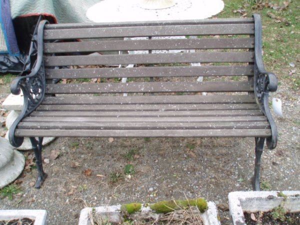 15: Park bench - iron sides and wooden slats