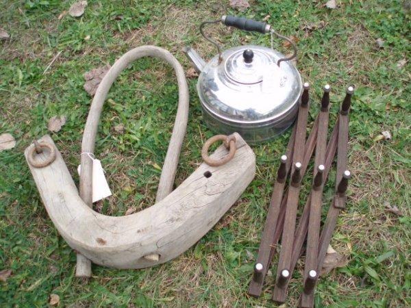 16: Silver over copper tea kettle, Victorian hat rack p