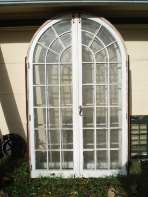 18: Three early French doors and frames w/individual pa