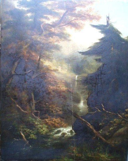 371:  Primitive O/B mountain waterfall -19th c.