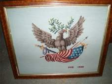 594 Patriotic needlework of American eagle and flag in