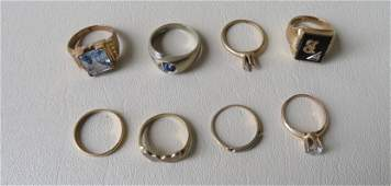 Grouping of vintage jewelry (rings) including: A marked