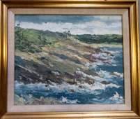 O/C Impressionist seascape depicting an ocean beach