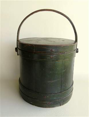 A very fine firkin in green paint which appears to be
