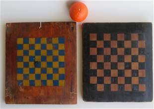 Two American hand made wooden game boards in original