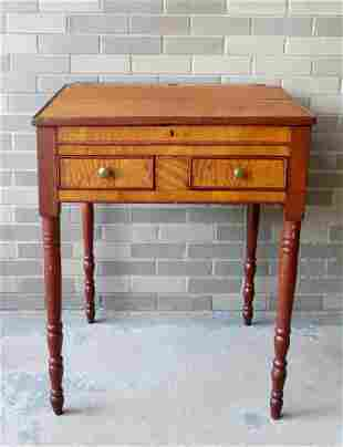 A tiger and birdseye maple Sheraton country store desk