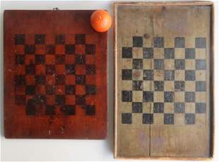Two American hand painted game boards in original