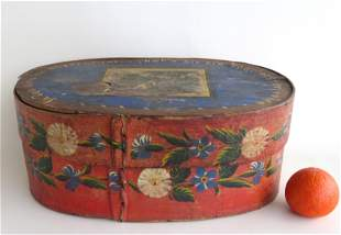 Scandanavian hand painted oval bride's box in original