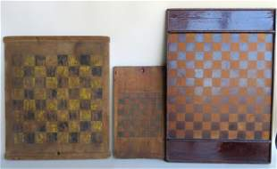 Three wooden game boards including: 1) Black and red