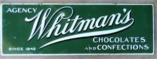 Whitman's Chocolates, porcelain sign. Double sided