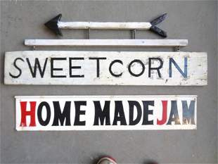 Two vintage farm double sided signs including: The