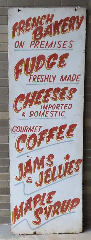 Large vertical country store sign, all hand painted, to