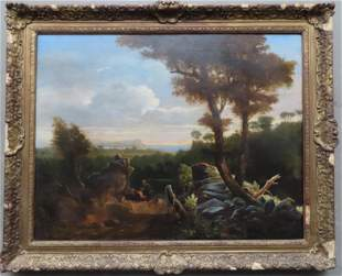 O/C Mountain landscape depicting man with walking stick