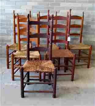 An assembled set of 6 ladder back chairs, early 19th