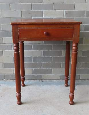 A one drawer Sheraton work table in poplar wood in red