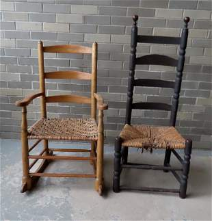 Two country chairs including a 18th century ladder-back