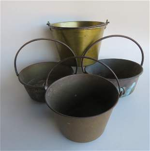 Grouping of 4 brass buckets including 2 in spun brass