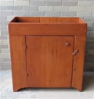 Pine dry sink having a single door under well - the