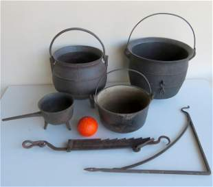 Grouping of 6 early iron hearth items including: