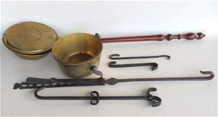 Grouping of early hearth items including: A brass