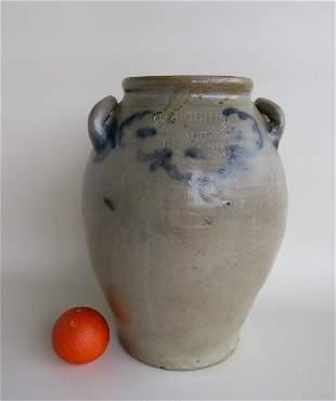 Crolius, Manhattan NY stoneware crock, slightly ovoid
