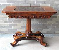 A high quality rosewood and fruitwood game table by J.