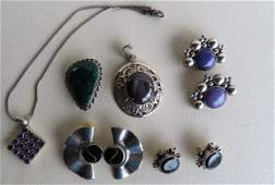 Grouping of 6 pieces of Mexican sterling silver jewelry