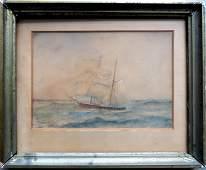 Small primitive WC Sailing vessel signed P Schwartz