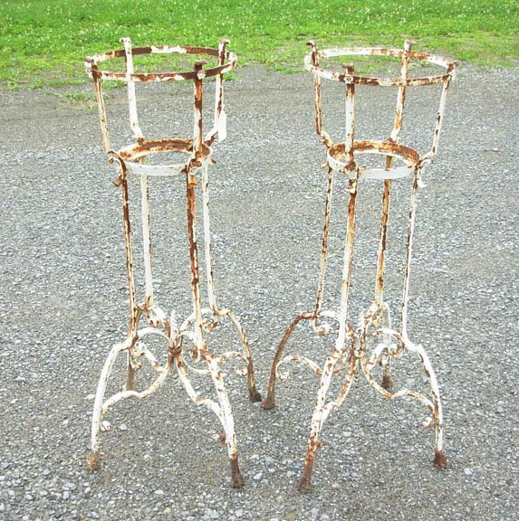 "1014: Two iron plant stands - 40"" height - circa 1920"