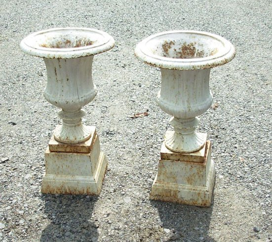"1024: Two cast iron garden urns - two parts - 19"" heigh"