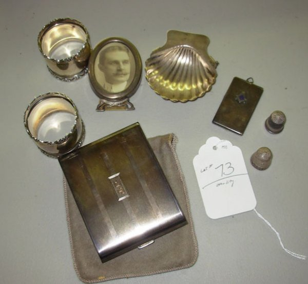 1073: Lot of misc. sterling items including cigarette c