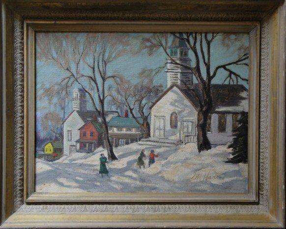"1: O/B Mass. winter landscape signed Marjorie Harris ""C"