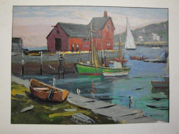 4: Acrylic on cardboard sailboats at harbor signed Step