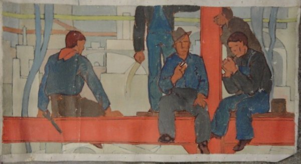 5: O/C Steel workers sitting on beam. Signed on reverse