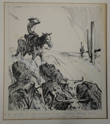 6: Two pen/ink illustrations including cowboys with ste
