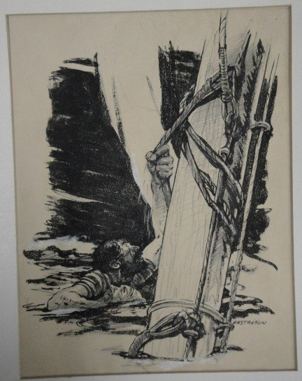 7: Two pen/ink illustrations including Tarzan leaping o