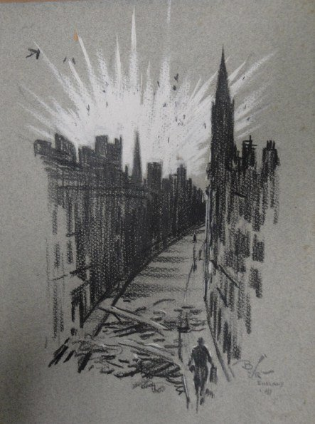 8: Two pen/ink drawings of London England with explosio