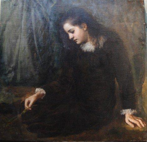 11: O/C Portrait of seated Edwardian lady holding a flo
