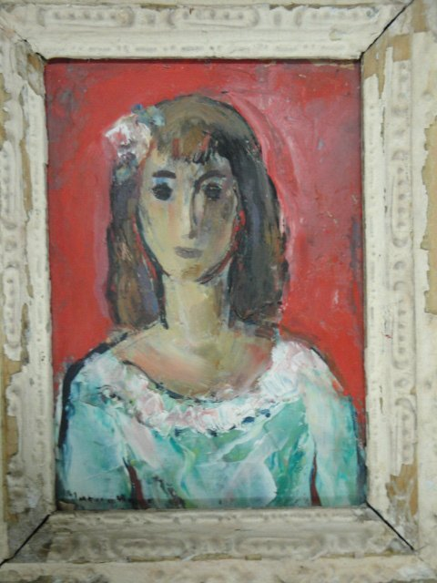 12: O/B Modernistic young lady signed Marion Huse 1896-