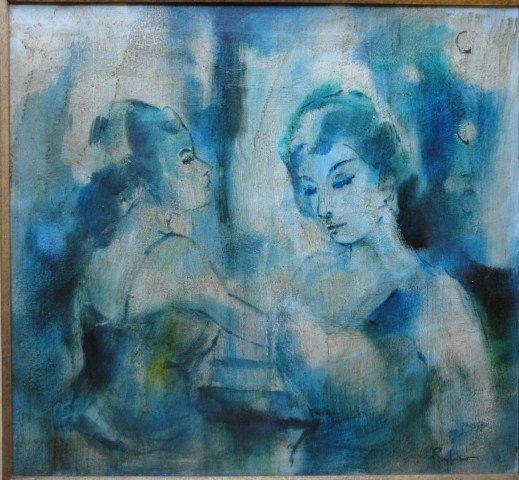 14: O/C Modernism portrait of 2 woman signed Reyfino en