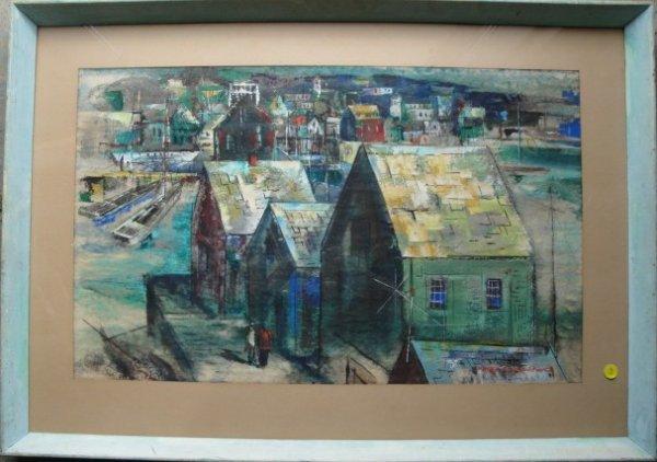 15: W/C Modernistic street scene signed Peter Paul Duba