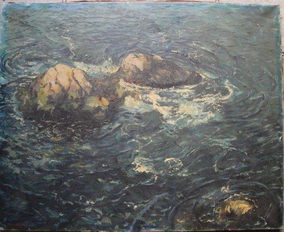 16: O/C Swirling waters around rocks - possibly Hawaii.