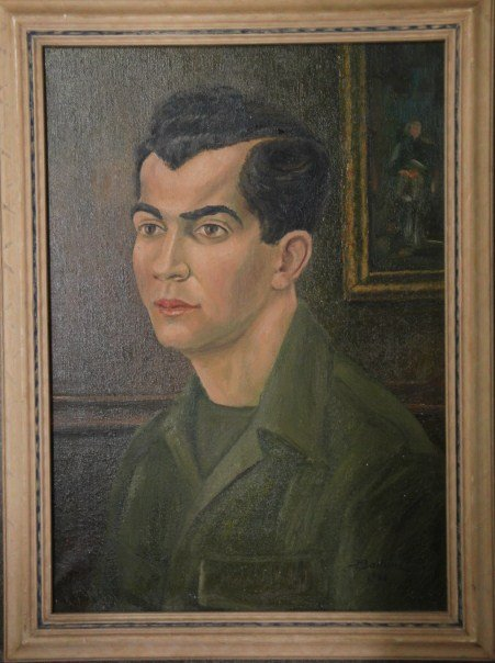18: O/C Portrait of man in army fatigue shirt signed H.