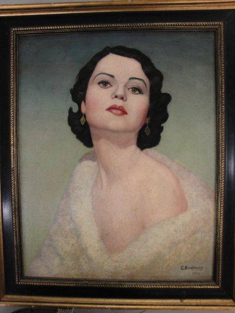 "19: O/C Art Deco lady signed C. Bodnar 1933. 16"" x 29""."