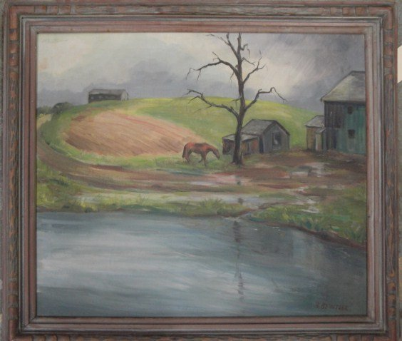 22: O/C Barns and horse by pond signed B. Berntsen (Ber