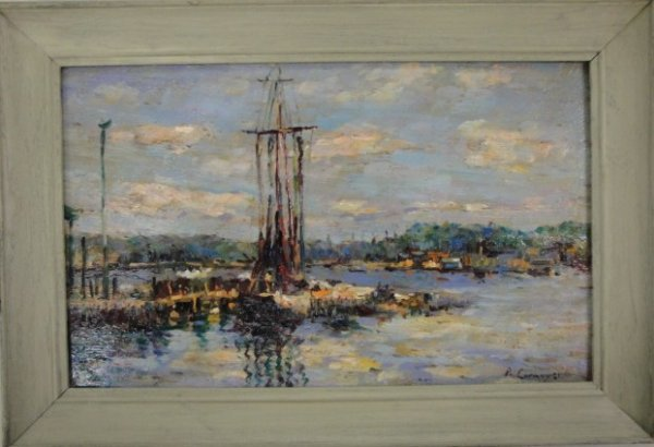 137: O/Panel Impressionist seascape with boats at dock.