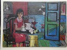 171 OB Modernistic young lady at table Signed Takis