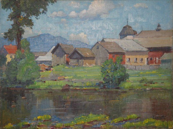 261: Oil on artist board of farm house and barns by pon